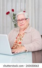 Grandmother using laptop at home. looking at camera