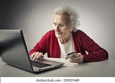 Grandmother using technology