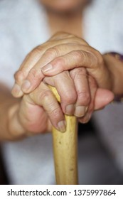 Grandmother's hand and cane