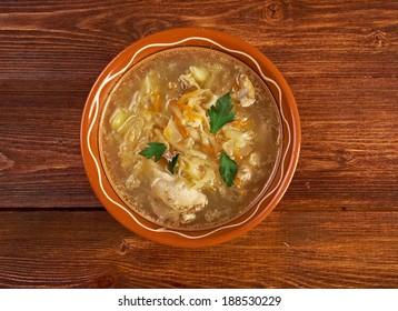 Grandmother's Sauerkraut soup.German cuisine