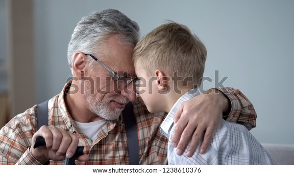 Grandpa Grandson Leaning Foreheads Together Family Stock Photo (Edit
