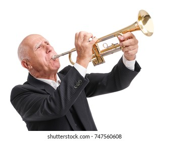Grandpa playing on trumpet on white isolated background