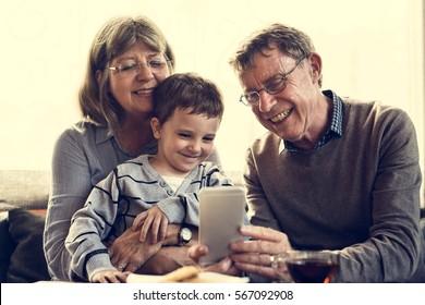 Grandparent Grandson Family Technology Digital