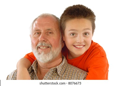 Grandparent and his little gransdson posing for a fun family portrait