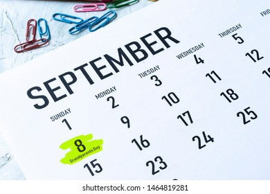 Grandparents day 2019 US. 8th September 2019 highlighted on the calendar