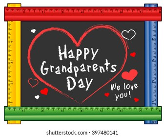 Grandparents Day, USA holiday, first Sunday of September after Labor Day, We love You hearts, multi color ruler frame chalk board, for preschool, daycare, kindergarten, nursery, elementary school.