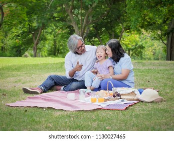 Grandparents and grandchild having a picnic in the home garden,Happy family concept.