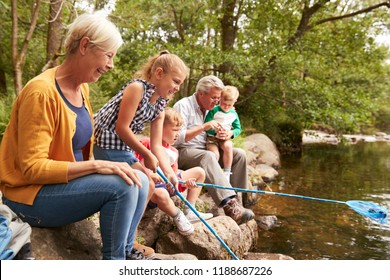 Grandparents With Grandchildren Fishing With Nets In River In UK Lake District