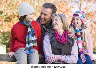 Grandparents and grandchildren on autumn walk
