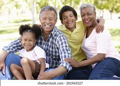 Grandparents and grandchildren in park