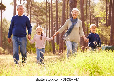 Grandparents and grandchildren walking in the countryside