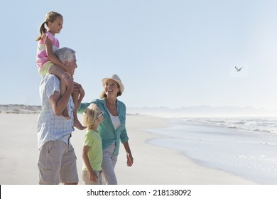 Grandparents and grandchildren walking on sunny beach