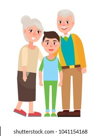 Grandparents with grandson  illustration isolated on white. Happy senior couple together with young boy  illustration in flat style