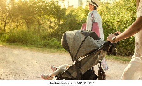 Grandparents pushing Stroller at the Park.
