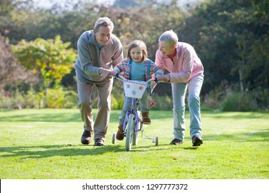 Grandparents teaching granddaughter to ride bike with training wheels