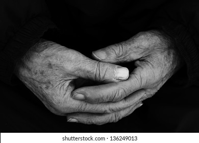 Grandpa's old, worn out, wrikled hands.