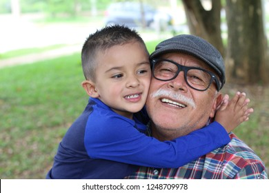Grandson showing love for grandpa