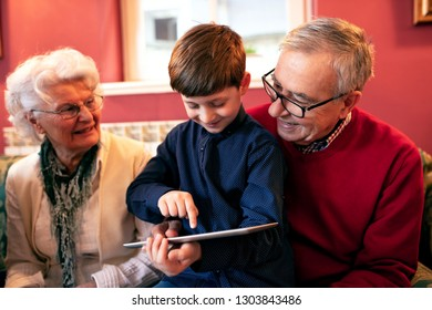 Grandson teaching his grandparents how to use a tablet and search the internet