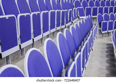 grandstand in blue at the stadium