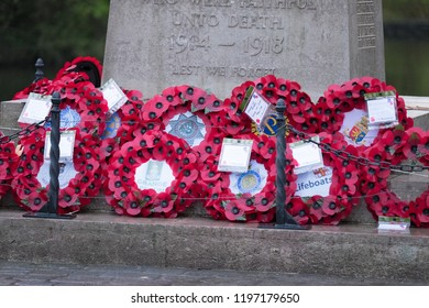 Grange over Sands Cumbria England 27.11,17 Commemorative poppy wreaths adorn the cenotaph in the park at Grange over Sands