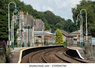 Grange - over - Sands, Cumbria, UK - July 2 2017: Looking along the tracks towards the Victorian Grange over Sands Railway Station designed in 1864 on a summers day