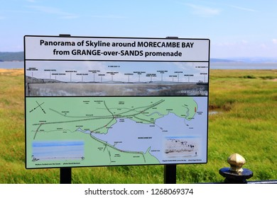 Grange-Over-Sands Cumbria UK 07.14.2018 - Public information board along the estuary at Grange-Over-Sands showing panoramic views of the skyline around Morcombe Bay UK