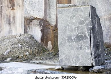 Granite block  on a mine quarry