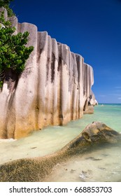 Granite boulders on tropical beach Anse Source d'Argent, La Digue Island, Seychelles