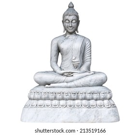 granite Buddha statue in meditation position on white background - design marble symbol peaceful