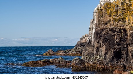 Granite cliff sides of the northern part of the island of Bornholm in Denmark