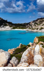 Granite coast of Mediterranean sea in Maddalena archipelago, Sardinia, Italy.
