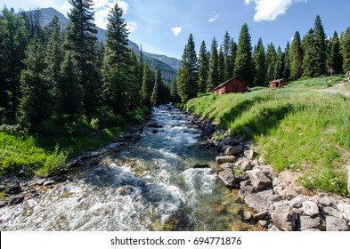 Granite Creek in the summertime is flowing, near Jackson Hole, Wyoming in the Teton National Forest