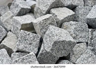 granite cube blocks. Shallow DOF