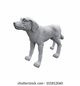 A granite guard dog, isolated against white.