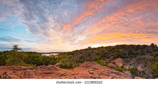 Granite Hills Of Inks Lake State Park Against Fiery Sunset - Burnet County Texas Hill Country