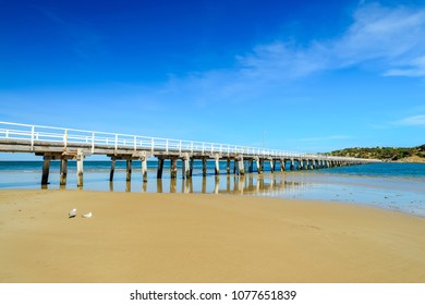 Granite Island Jetty viewed across Victor Harbor beach, South Australia