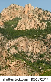 Granite mountains of the Bavella massif. Alta Rocca, Corsica, France.