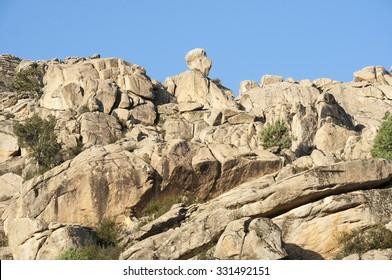 Granite outcrops in Sierra de los Porrones, Guadarrama Mountains, Madrid, Spain.
