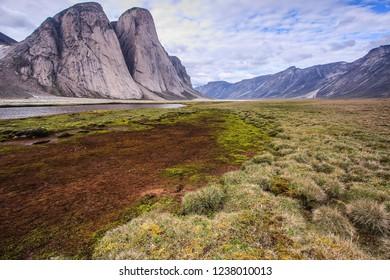 Granite Peaks along the Weasel River in Akshayuk Pass, Baffin Island, Nunavut