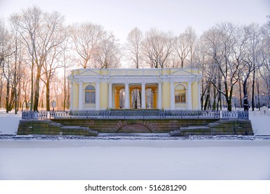 Granite pier and pavilion on the bank of the Moika River in the Mikhailovsky Garden in winter. Saint-Petersburg