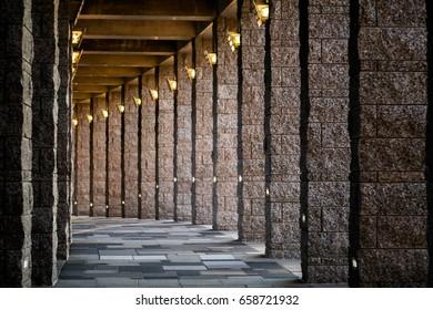 Granite pillars hallway