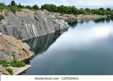 Granite quarry. Halibut Point State Park in Rockport, Massachusetts