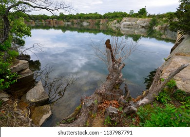 Granite quarry in Rockport, Massachusetts. Halibut Point State Park