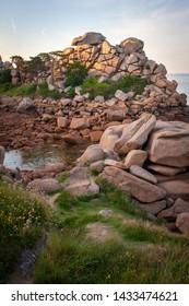 Granite rock formations along the Côte de granite rose, in Brittany, near Perros-Guirec