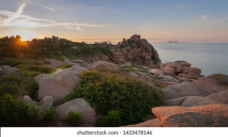granite rock formations, near Perros-Guirec, in Brittany, France at sunset
