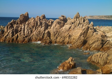 Granite rock formations under sun light. Capo Testa, Santa Teresa, Sardinia, Italy.