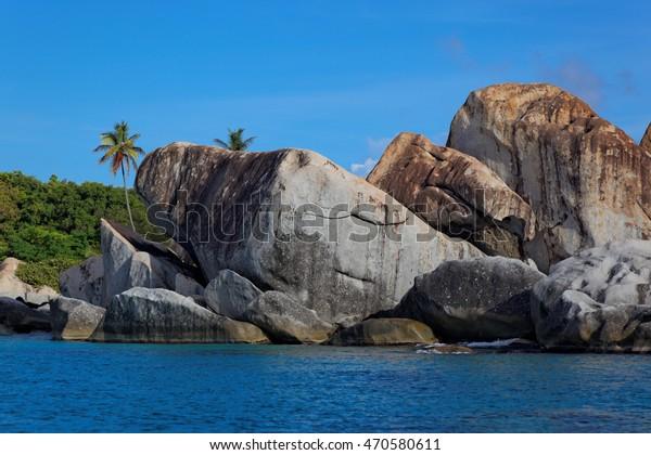Granite rocks in The Baths Virgin Gorda, British Virgin Island (BVI), Caribbean