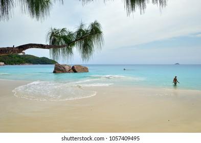 Granite rocky beaches on Seychelles islands at morning. Anse Lazio, Praslin