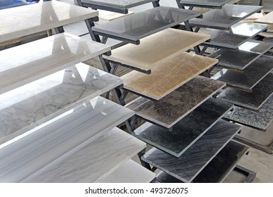 granite sample texture - marble layers design gray stone slab surface grain rock backdrop layout industry construction