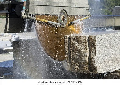granite sawing machine in a factory from a quarry
